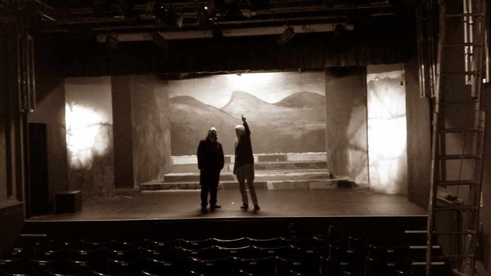 Stage designer on stage set for Weird Sisters